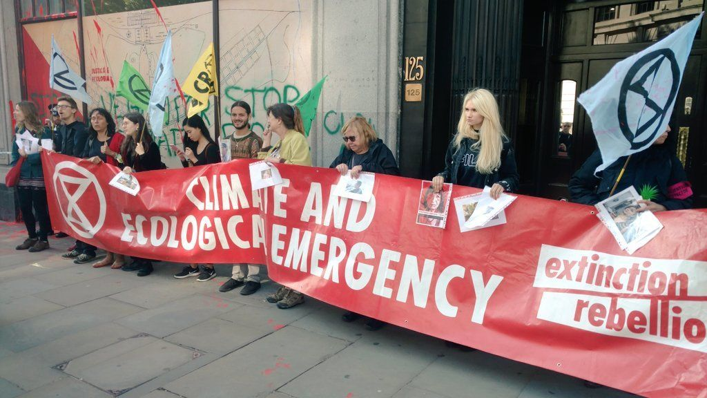 Extinction Rebellion activists at the Brazilian embassy in London, 13 August 2019