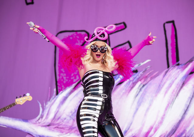 Katy Perry performs at the New Orleans Jazz and Heritage Festival on Saturday, April 27, 2019, in New Orleans.