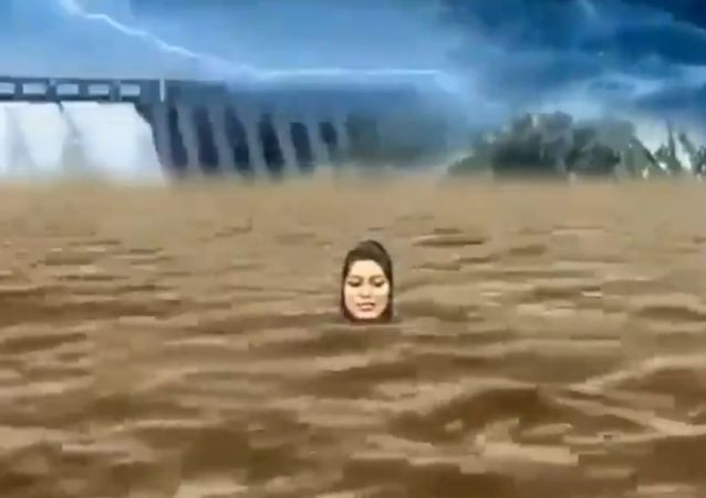 """An Indian television anchor's  """"drowning """" act has amused Twitter users, instead of relaying the direness of the flood situation in the southern state of Karnataka."""