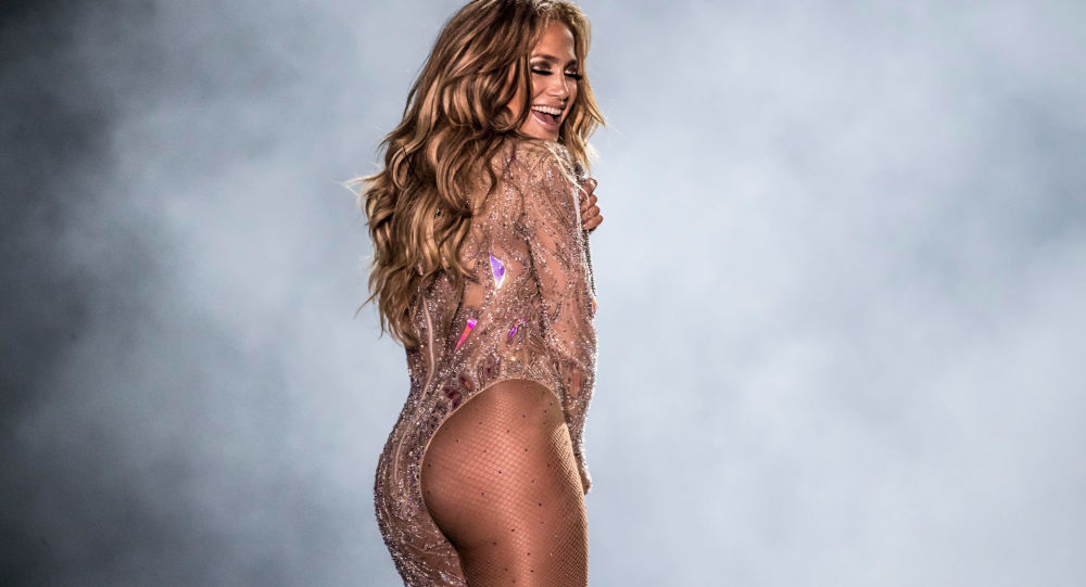 Singer Jennifer Lopez performs onstage during her concert on the beach of North Coast city of New Alamein, north of the Egyptian Capital Cairo on August 9, 2019.