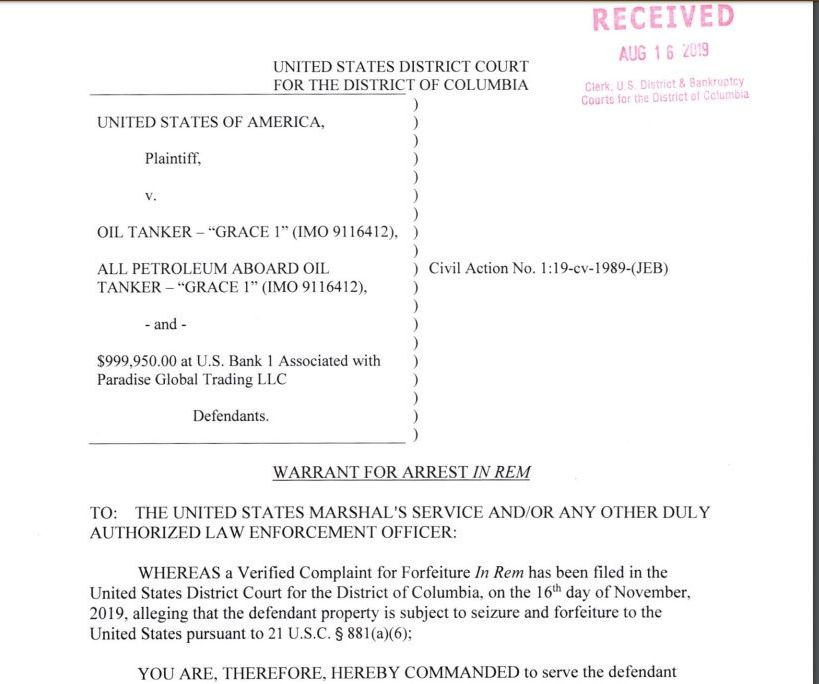 US warrant on forfeiture of Grace 1 tanker with incorrect date in its text saying 16 November instead of August