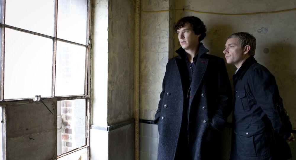 Benedict Cumberbatch as Sherlock, left, and Martin Freeman as Watson are shown in the Sherlock: A Scandal in Belgravia
