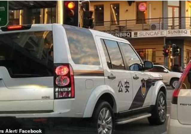 Land Rover detailed with Chinese-language markings to resemble a Chinese police cruiser, spotted in Perth