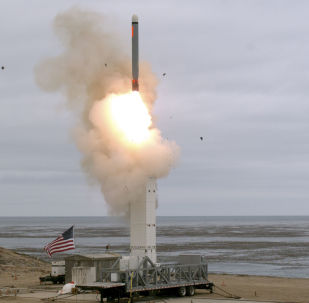 This US Department of Defense (DOD) handout photo shows on August 18, at 2:30 p.m. Pacific Daylight Time, when the Defense Department conducted a flight test of a conventionally configured ground-launched cruise missile at San Nicolas Island, California. - The test missile exited its ground mobile launcher and accurately impacted its target after more than 500 kilometers of flight. Data collected and lessons learned from this test will inform DOD's development of future intermediate-range capabilities.
