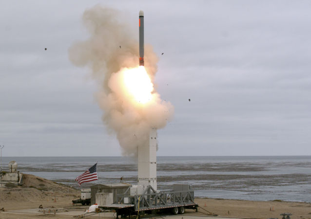 This US Department of Defense (DOD) handout photo shows, on 18 August, at 2:30 p.m. Pacific Daylight Time, when the Defense Department conducted a flight test on a conventionally configured ground-launched cruise missile on San Nicolas Island, California. - The test missile exited its ground-based mobile launcher and accurately impacted its target after flying over 500 kilometres. Data collected and lessons learned from this test will inform the DOD's development of future intermediate-range capabilities.