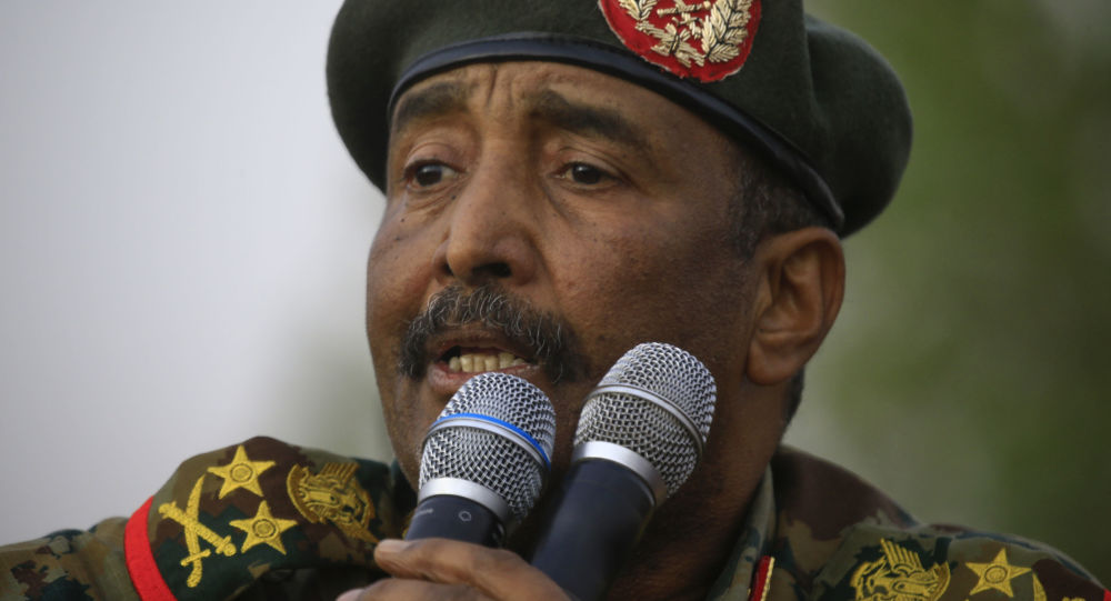 In this file photo taken on June 29, 2019 General Abdel Fattah al-Burhan, the head of Sudan's ruling military council, addresses the crowd in Khartoum's twin city of Omdurman.