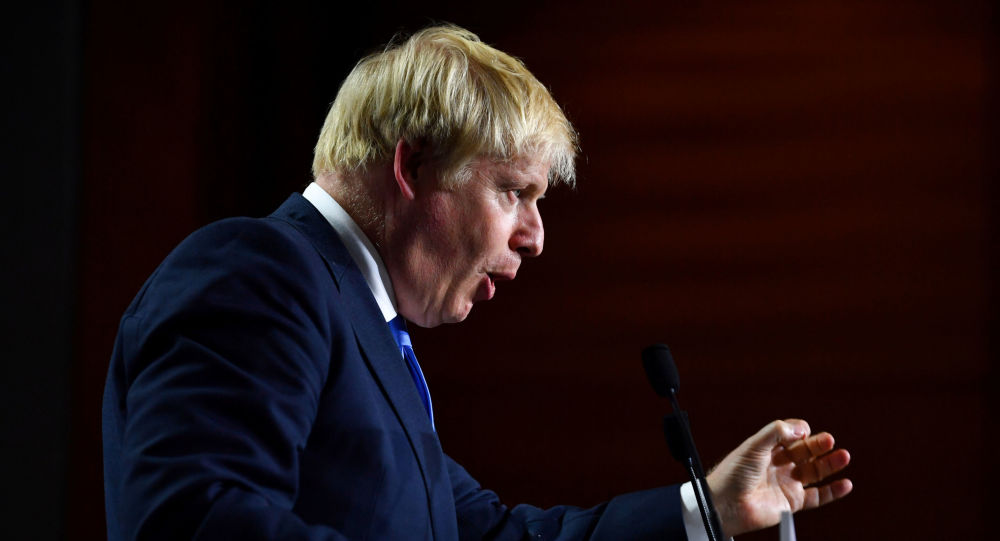Britain's Prime Minister Boris Johnson speaks during a news conference at the end of the G7 summit in Biarritz, France, August 26, 2019