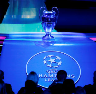 General view of the Champions League trophy on display before the Champions League Group Stage draw at Grimaldi Forum in Monaco on 29 August 2019 .