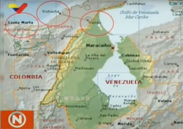 Three alleged paramilitary training camps along the border in Colombia showed by Venezuelan Communication Minister Jorge Rodriguez on 31 August 2019