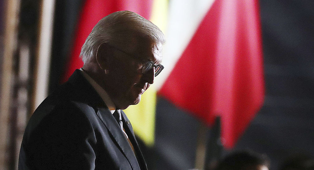 Germany's President Frank-Walter Steinmeier walks after speaks at the commemoration ceremony marking the 80th anniversary of World War II in Wielun, Poland, Sunday, Sept. 1, 2019.