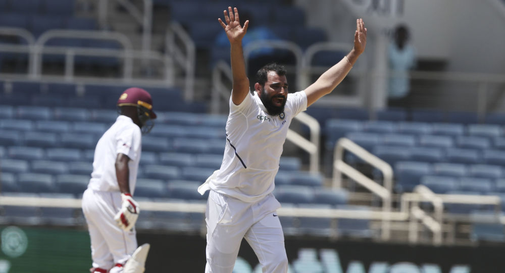 India's Mohammed Shami unsuccessfully appeals for the wicket of Jermaine Blackwood during day four of the second Test cricket match at Sabina Park cricket ground in Kingston, Jamaica Monday, Sept. 2, 2019