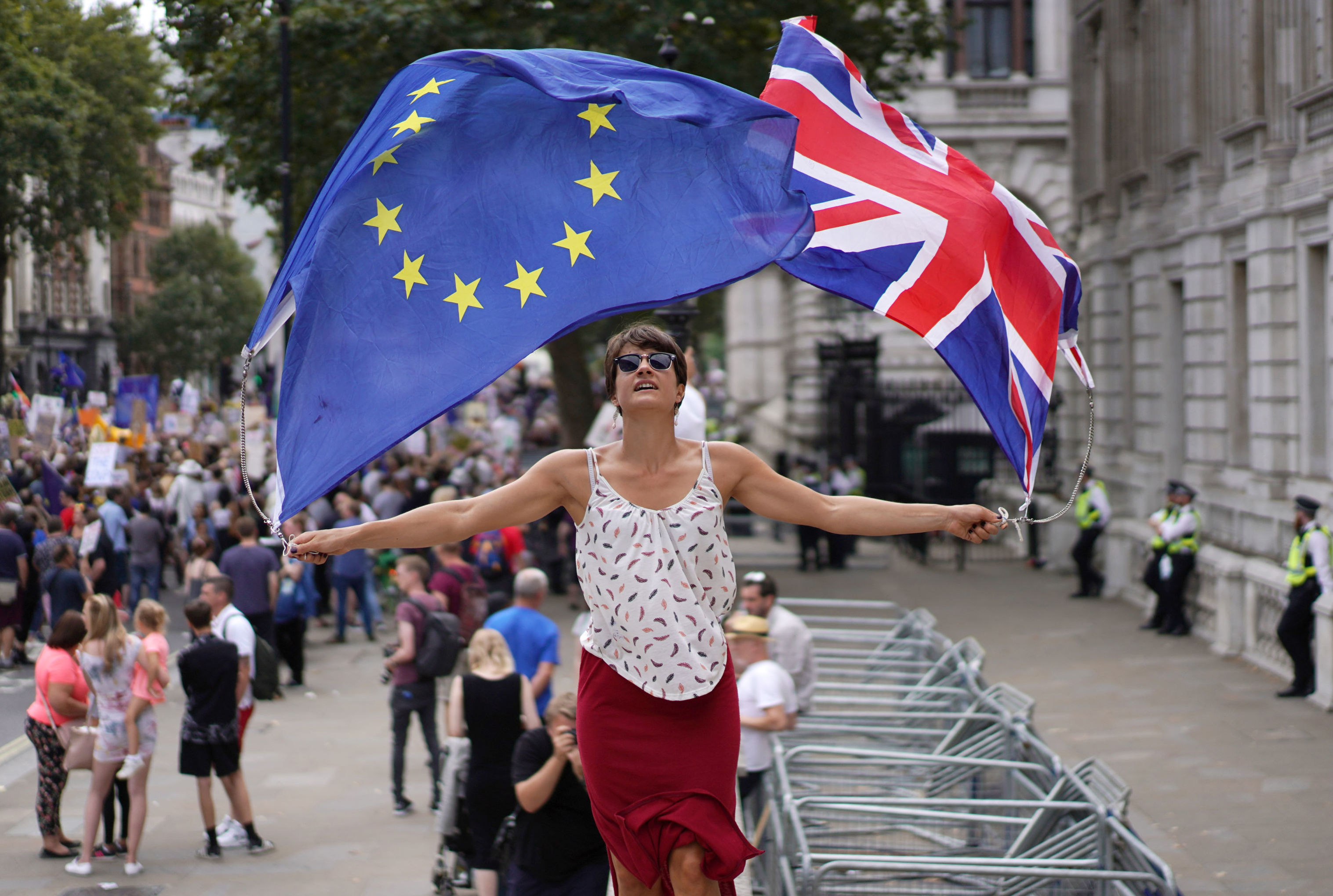 Anti-Brexit protestors demonstrate at Whitehall in London, Britain, August 31, 2019