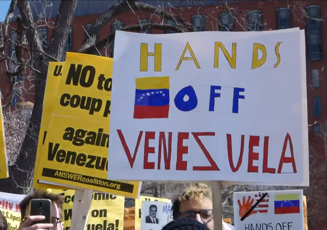 Protesters rally in Washington, DC, supporting Venezuelan President Nicolas Maduro
