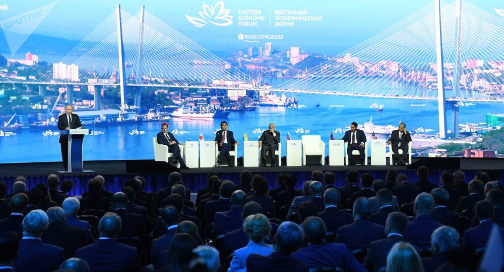Russian President Vladimir Putin opens a plenary session of Eastern Economic Forum at far-eastern Russian port of Vladivostok on September 5, 2019