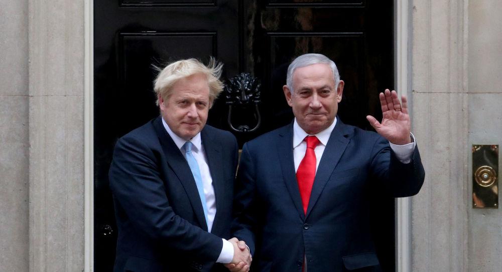 Britain's Prime Minister Boris Johnson welcomes Israel's Prime Minister Benjamin Netanyahu outside Downing Street in London, Britain September 5, 2019