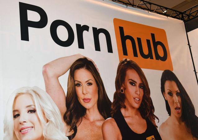 LAS VEGAS, NV - JANUARY 18: A sign at the Pornhub booth is displayed at the 2017 AVN Adult Entertainment Expo at the Hard Rock Hotel & Casino on January 18, 2017 in Las Vegas, Nevada