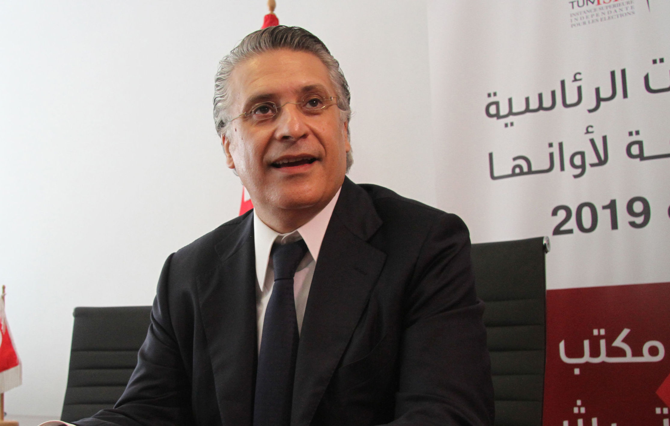 Nabil Karoui, Tunisian media magnate and would-be presidential candidate submits his candidacy to Tunisia's electoral commission in the capital Tunis on August 2, 2019.