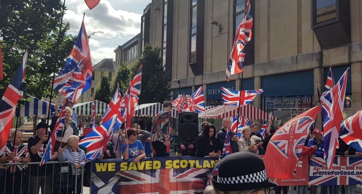 A protest against Scottish independence in Perth, Scotland