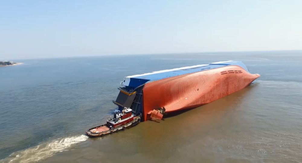 Drone Recording Offers Jaw-Dropping Footage of Capsized Georgia Cargo Ship
