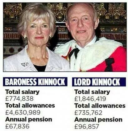 Lord Kinnock alongside his wife Lady Kinnock. He was made a Lord by Tony Blair, she by Gordon Brown.