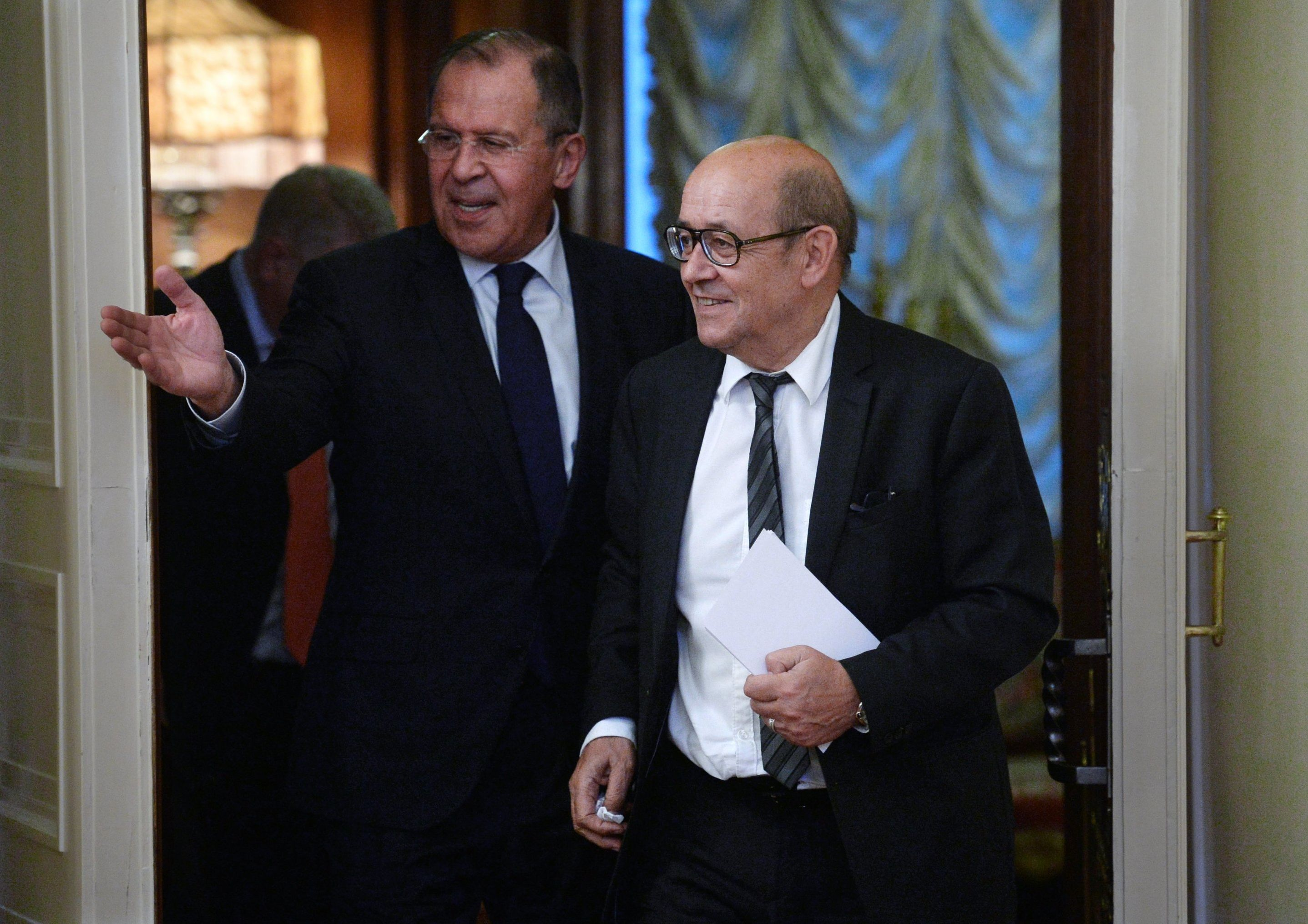 Russian Foreign Minister Sergey Lavrov, left, and Jean-Yves Le Drian, French Minister for Europe and Foreign Affairs, during a meeting at the Russian Foreign Ministry's Reception House