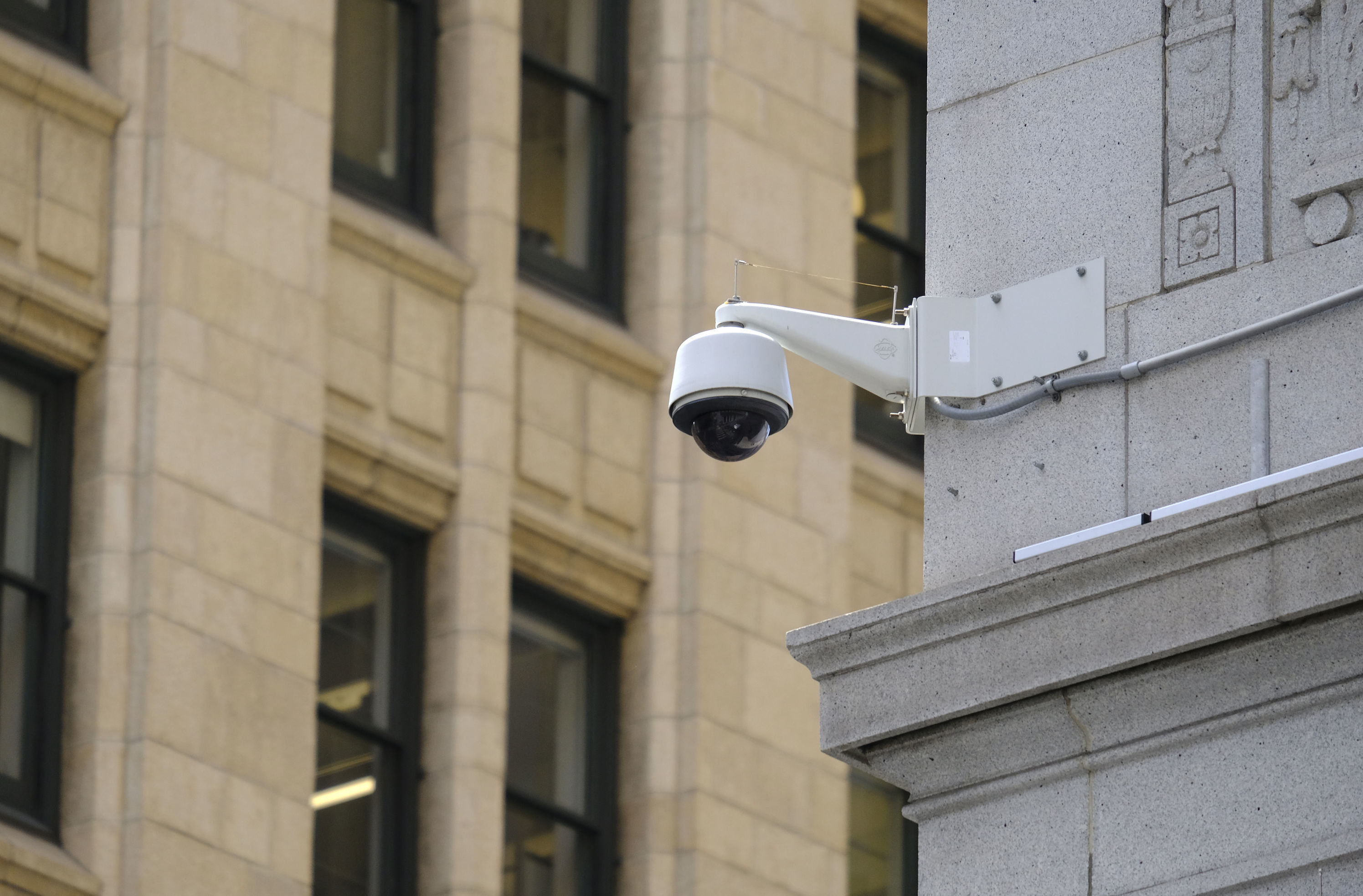 In this photo taken Tuesday, May 7, 2019, is a security camera in the Financial District of San Francisco. San Francisco is on track to become the first U.S. city to ban the use of facial recognition by police and other city agencies as the technology creeps increasingly into daily life.