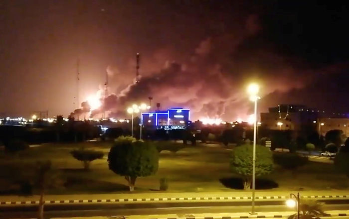 Smoke is seen following a fire at an Aramco factory in Abqaiq, Saudi Arabia, September 14, 2019 in this picture obtained from social media