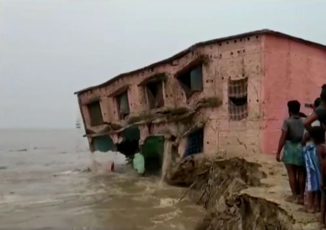 A school gets washed away in Ganga River in Katihar