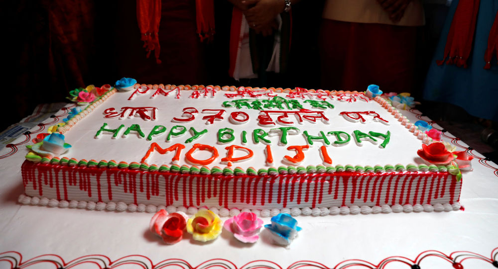 A cake is seen during an event to mark Indian Prime Minister Narendra Modi's birthday at a school, in New Delhi, India, September 17, 2019