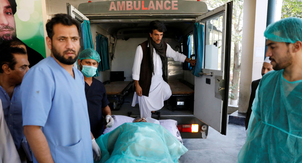 An injured man is transported to an ambulance at a hospital, after a blast in Kabul, Afghanistan September 17, 2019