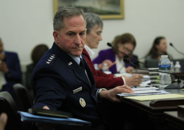 Air Force Chief of Staff Gen. David Goldfein, front, and Secretary of the Air Force Heather Wilson, testify before a House Appropriations subcommittee hearing on U.S. Air Force budget request for FY 2020, on Capitol Hill in Washington, Tuesday, April 2, 2019