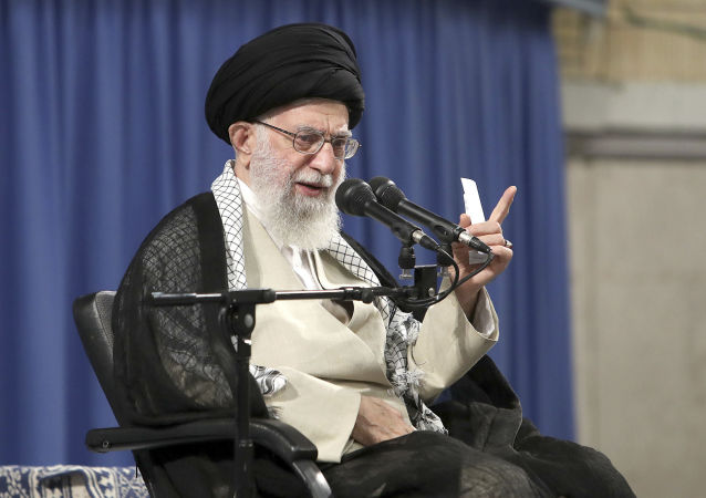 Supreme Leader Ayatollah Ali Khamenei speaks in a meeting with judiciary officials in Tehran, Iran
