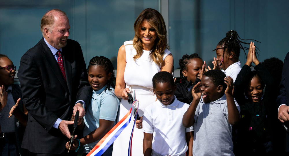 First Lady Melania Trump participates in a ribbon cutting and ceremonial ride to the top, to celebrate the re-opening of the Washington Monument, after a 37-month closure to modernize the elevator control system and construct a new security screening facility, in Washington, U.S., September 19, 2019