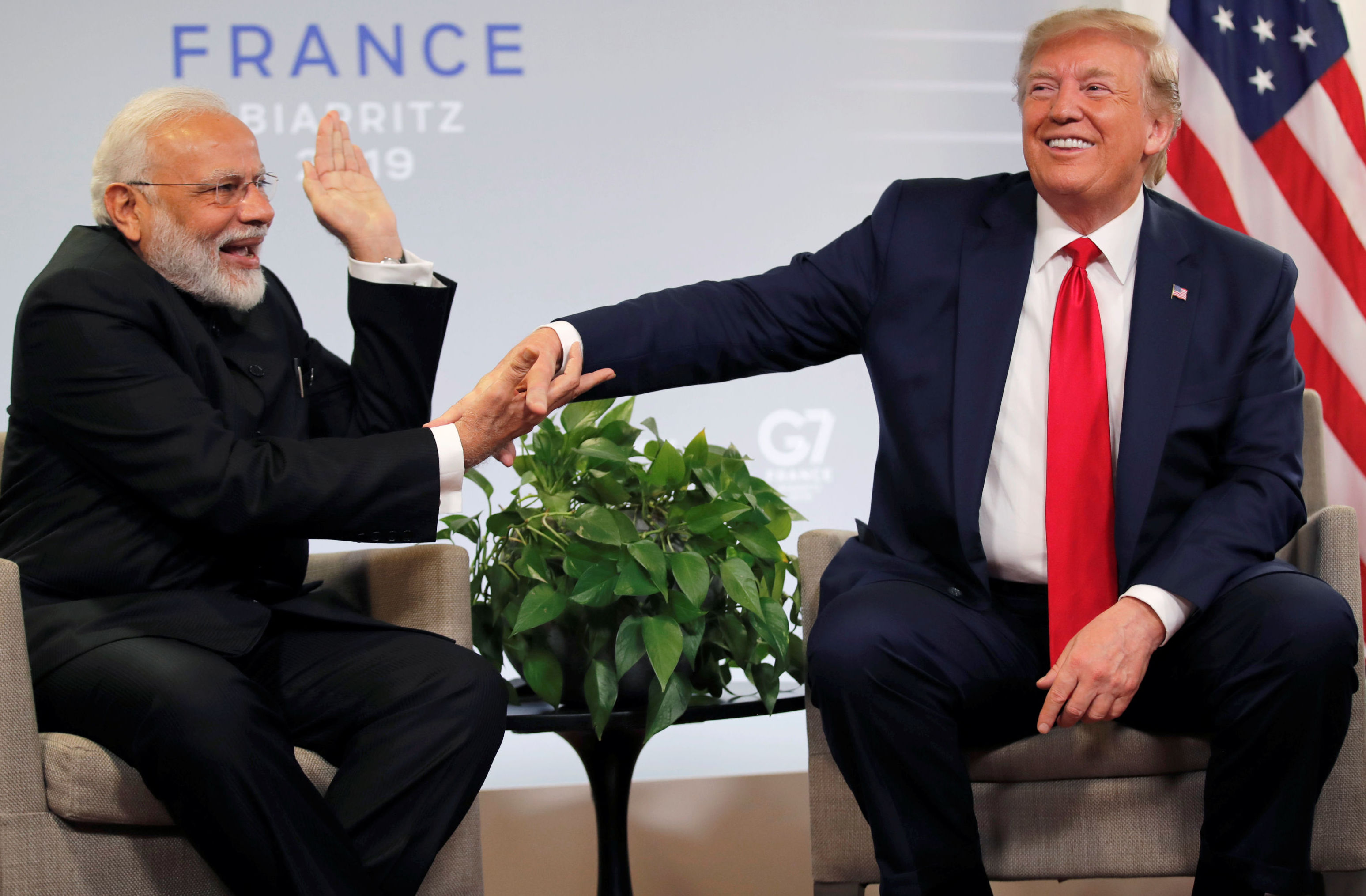 U.S. President Donald Trump meets Indian Prime Minister Narendra Modi for bilateral talks during the G7 summit in Biarritz, France, August 26, 2019