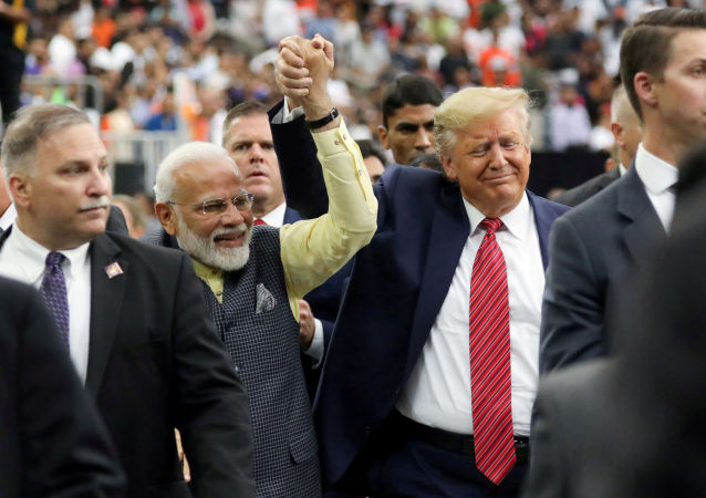 U.S. President Donald Trump participates in the Howdy Modi event with India's Prime Minister Narendra Modi in Houston, Texas, U.S., September 22, 2019.