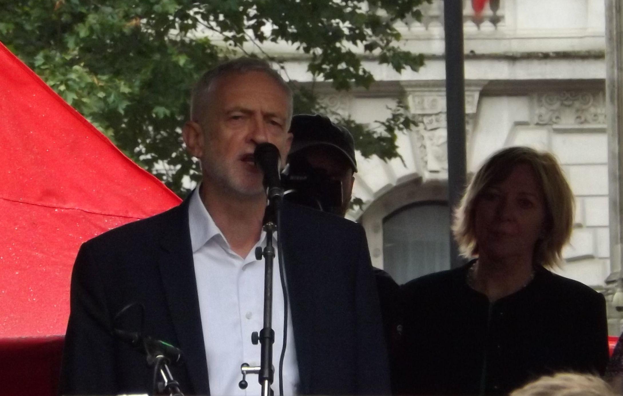 Jeremy Corbyn at anti-Trump rally