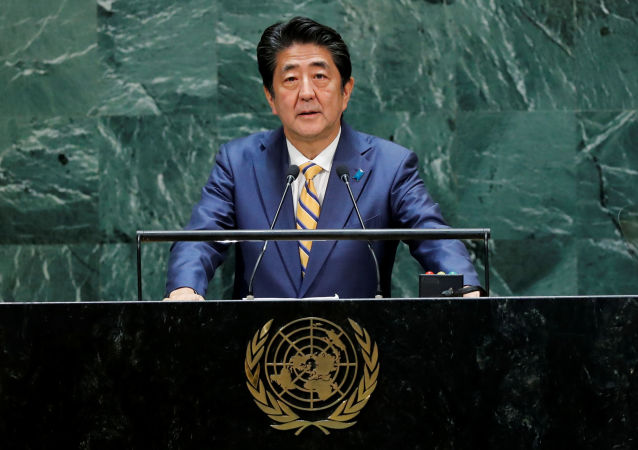 Japan's Prime Minister Shinzo Abe addresses the 74th session of the United Nations General Assembly at U.N. headquarters in New York City, New York, U.S., September 24, 2019. REUTERS/Eduardo Munoz