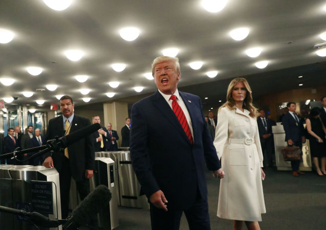 U.S. President Donald Trump speaks to reporters as he and first lady Melania Trump arrive for the 74th session of the United Nations General Assembly at U.N. headquarters in New York City, New York, U.S., September 24, 2019