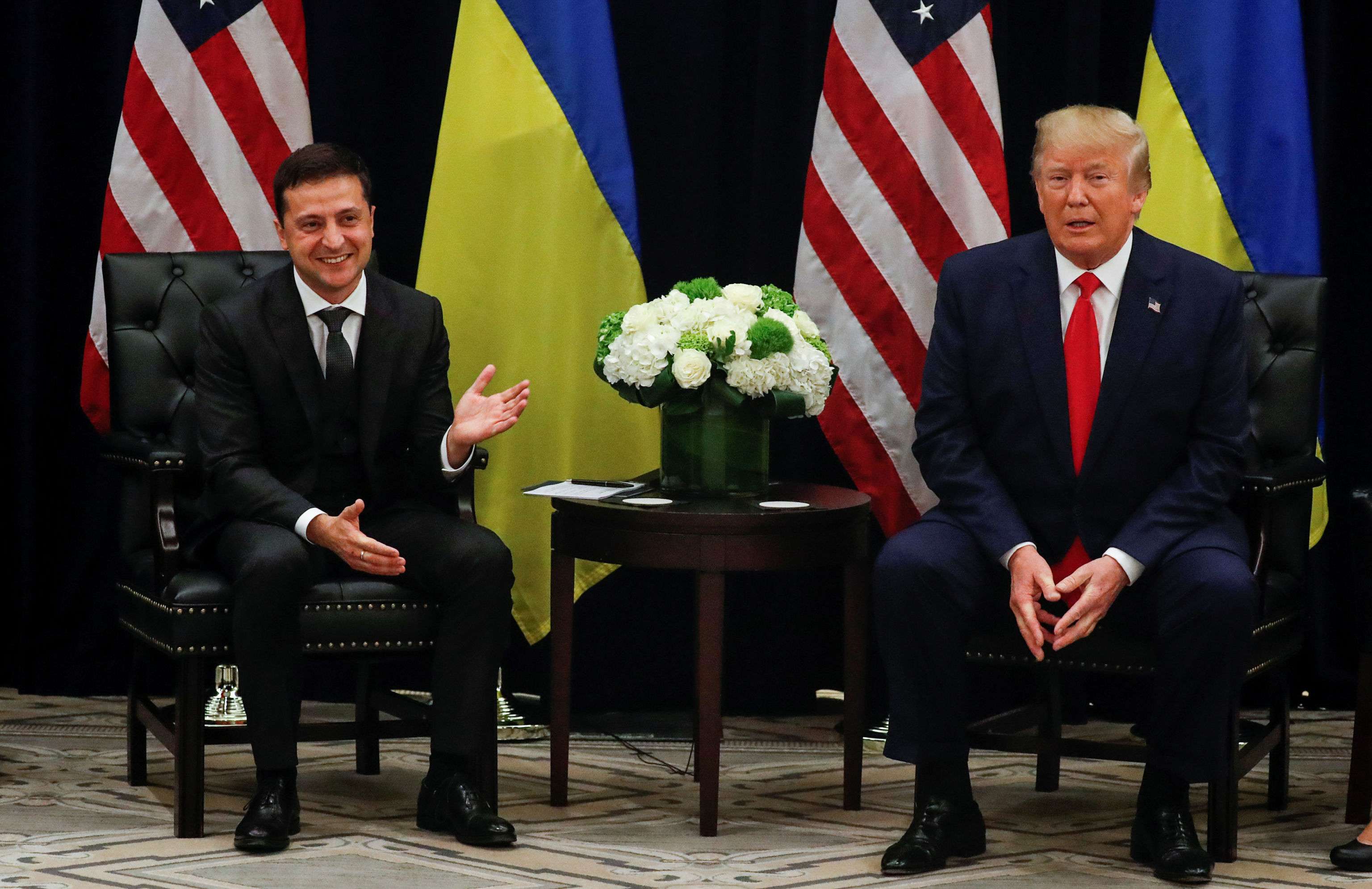 U.S. President Donald Trump listens during a bilateral meeting with with Ukraine's President Volodymyr Zelensky on the sidelines of the 74th session of the United Nations General Assembly (UNGA) in New York City, New York, U.S., September 25, 2019