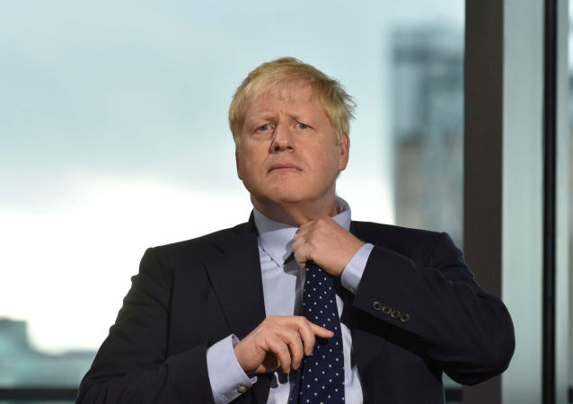 Britain's Prime Minister Boris Johnson appears on BBC TV's The Andrew Marr Show in Salford, Manchester, Britain, 29 September 2019