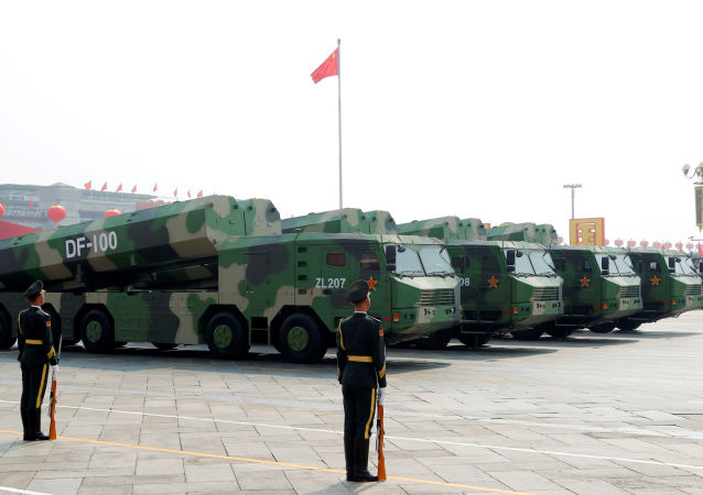 Military vehicles carrying hypersonic cruise missiles DF-100 drive past Tiananmen Square during the military parade marking the 70th founding anniversary of People's Republic of China, on its National Day in Beijing, China October 1, 2019