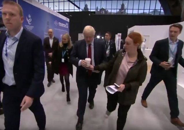 Aide snatches single-use cup from Boris Johnson