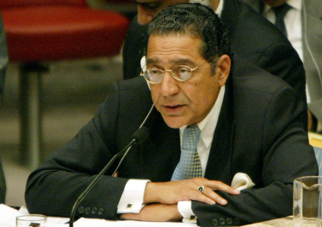 Pakistan's United Nations Ambassador Munir Akram speaks during a Security Council meeting on Afghanistan, Wednesday, Aug. 25, 2004, at the United Nations headquarters in New York