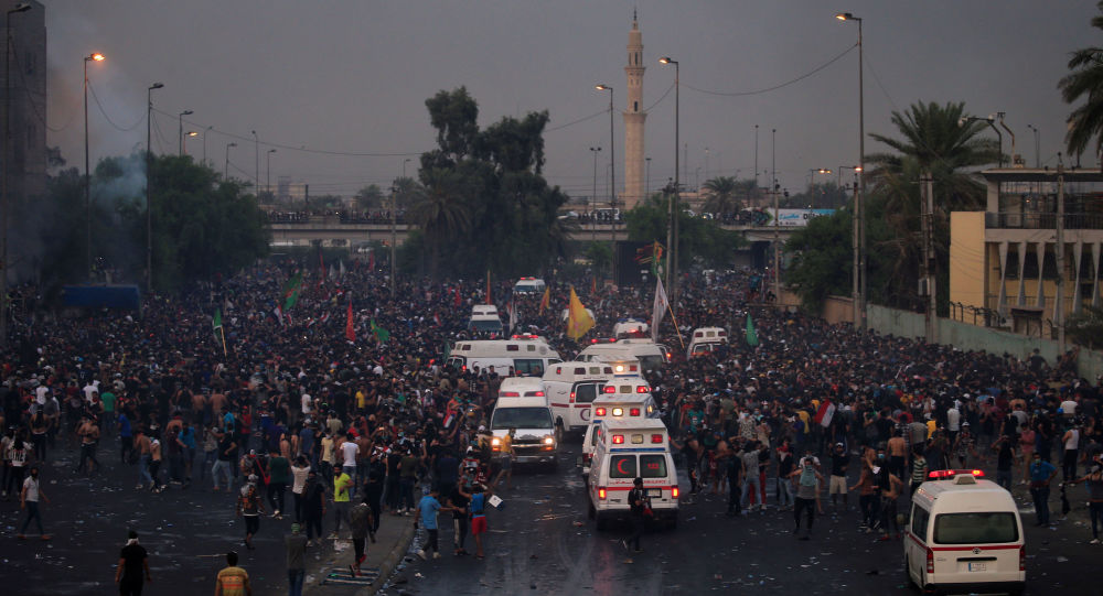 Demonstrators gather as they take part in a protest over unemployment, corruption and poor public services, in Baghdad, Iraq October 2, 2019