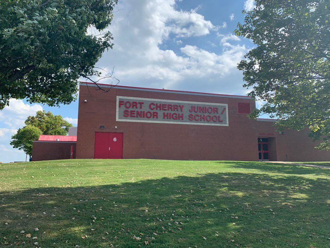 The Fort Cherry Elementary School and Fort Cherry High School, which share a single campus at the same location, are surrounded by fracking wells