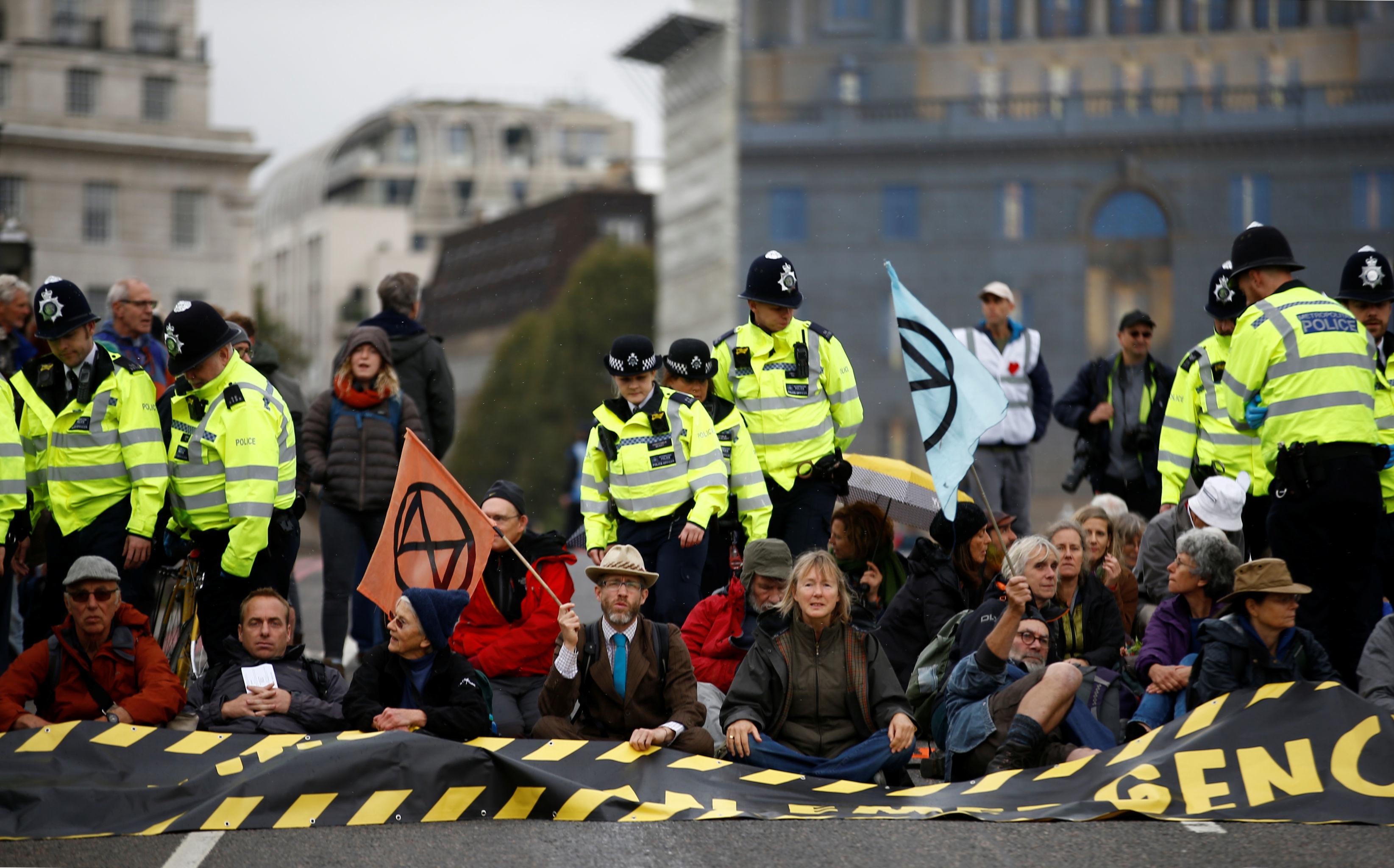 Activists block Lambeth Bridge during the Extinction Rebellion protest in London, Britain October 7, 2019