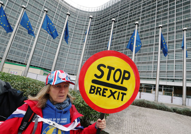 A woman holds a sign as she attends a protest against Brexit outside the EU Commission headquarters in Brussels, Belgium October 9, 2019.