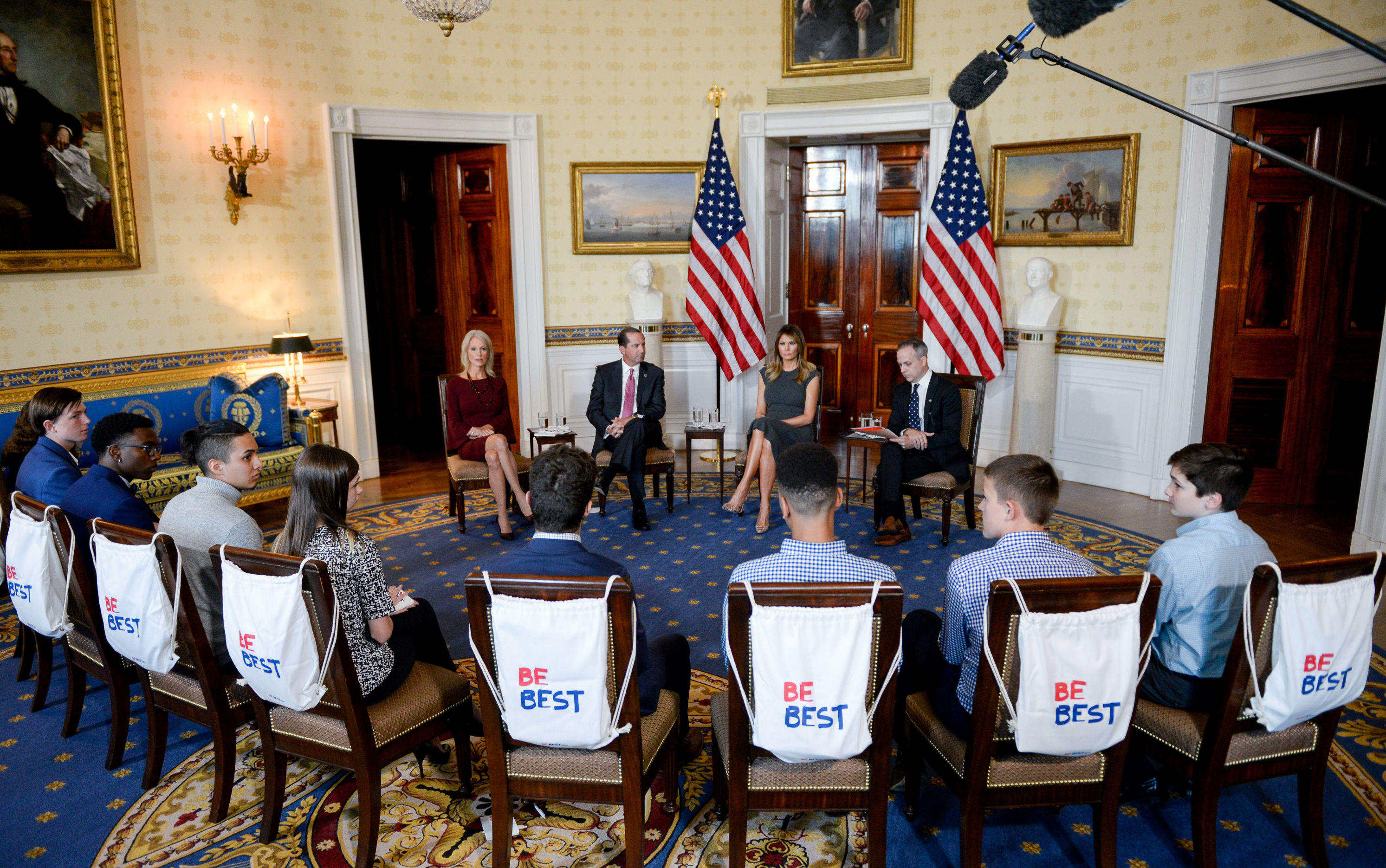U.S. first lady Melania Trump, joined by U.S. Health and Human Services Secretary Alex Azar, White House advisor Kellyanne Conway and Eric Asche, chief marketing officer at Truth Initiative, meets with teens on their experience with vaping as part of her Be Best initiative at the White House in Washington, U.S. October 9, 2019
