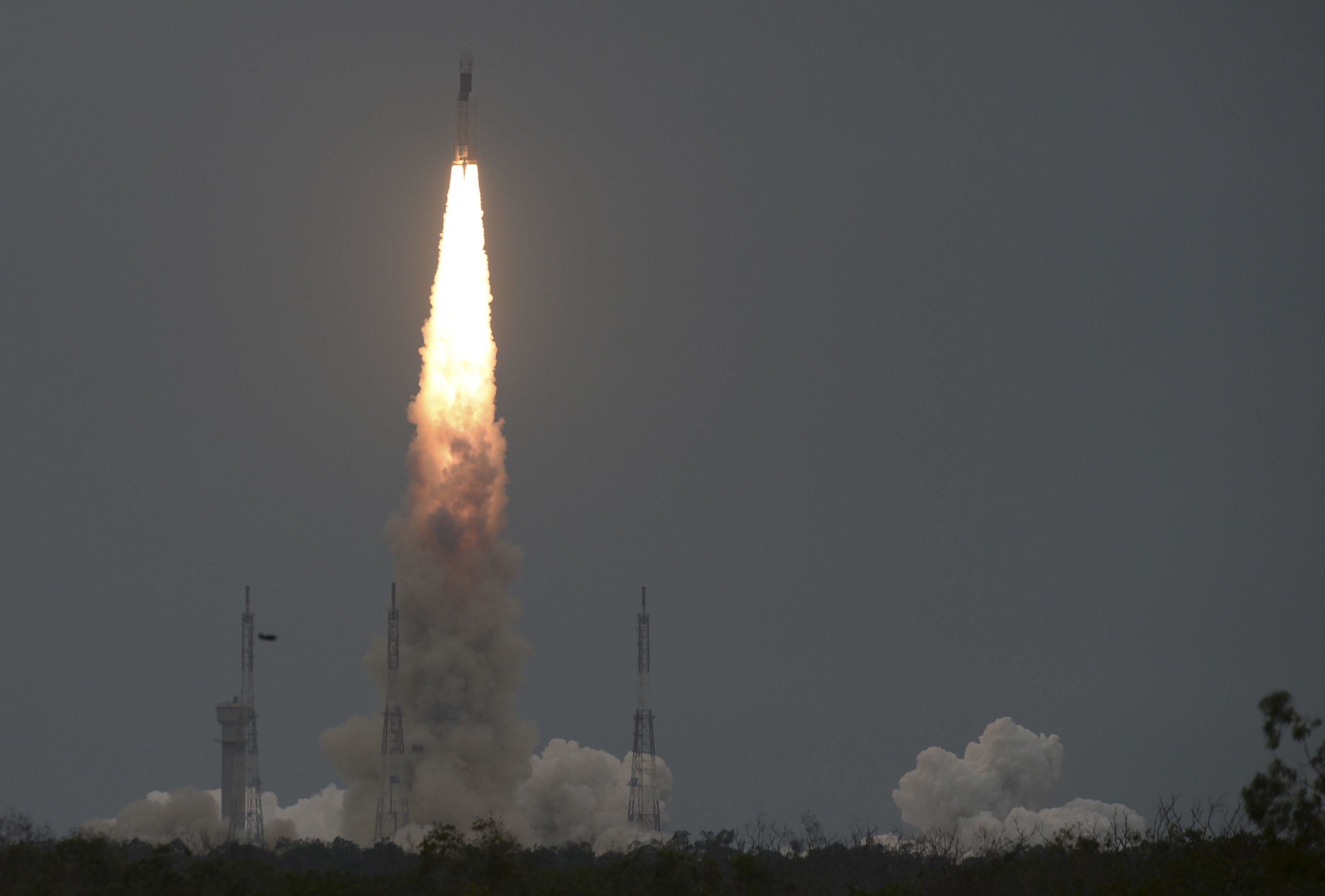 The Indian Space Research Organisation's (ISRO) Chandrayaan-2 (Moon Chariot 2), with on board the Geosynchronous Satellite Launch Vehicle (GSLV-mark III-M1), launches at the Satish Dhawan Space Centre in Sriharikota, an island off the coast of southern Andhra Pradesh state, on July 22, 2019.