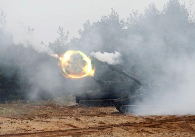 Latvian Army's GrW 86 mortar fires during NATO enhanced Forward Presence battle group military exercise Silver Arrow in Adazi, Latvia October 5, 2019